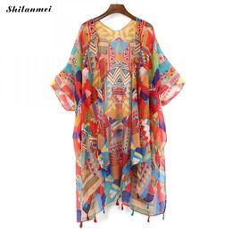Argentina 2018 blusa colorida chaqueta de verano blusa de gasa retro boho floral de encaje cardigan hippie kimono cardigan tops mujer cheap blouses jackets Suministro
