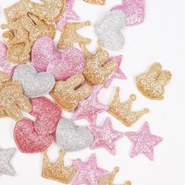 abbigliamento modelli cucitura Sconti 100 pz / borsa Glitter Patch Crown Rabbit Cuore Modello Carino Patch Abbigliamento Materiale Cucito Patch Per Abbigliamento Indumento Decorativo