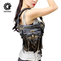 Bolsas mensageiros on-line-Steampunk Crânio Messenger Bag Ombro Leg Saco gótico Feminino Personalidade 2017 de Moda de Nova Homens Mulheres cintura