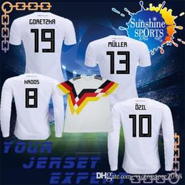 Wholesale Uniform Germany - new Germany soccer Jersey 2019 Lange armel Home white DRAHLER KROOS uniform OZIL WERNER MULLER 2018 GORETZKA SANE 18 19 Jerseys Long sleeves