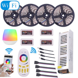 Wholesale 15m Led Light - 5050 RGBW RGBWW RGB Mi Light WIFI LED Strip Waterproof 5M 10M 15M 20M DC 12V LED Light 60led m With RF Remote Controller Power