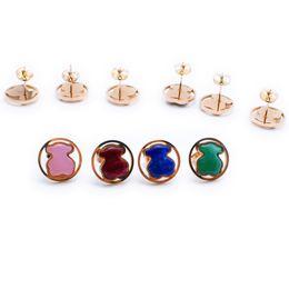 Wholesale Pink Gem Earrings - Women Nice quality natural stone green blue agate, pink quartz gems stainless women jewelry stud earring OSO Son de acero inoxidable bears