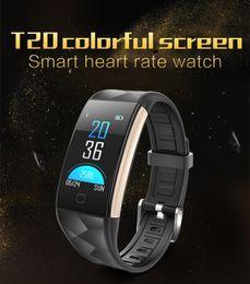 Wholesale Ios Color - T20 Color SmartBand heart rate blood pressure Blood oxygen smart wrist Fitness wristband Bracelet Sports Tracker Pedometer