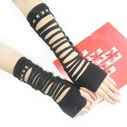 black gothic gloves Promo Codes - Black Sexy string ribbon gothic punk lady Disco dance costume party lace finger fishnet mesh long gloves arm warmerfree shipping D18110705