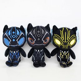 Wholesale Plush Soft Figure - Black Panther movie Plush dolls toys 25cm 2018 New children Avengers Superhero cartoon soft Plush dolls toys OTH874