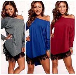 Туника онлайн-С плеча с длинным рукавом асимметричный подол кисточкой мода повседневная футболка топы туника женщин сексуальная мини платье OOA4186