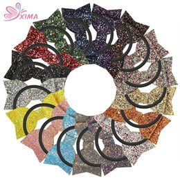 Wholesale glitter hair ties - XIMA 17pcs lot Glitter Fabric Sequin Bow with Elastic Band Hot-sale Hair Ties Girl Hair Accessories