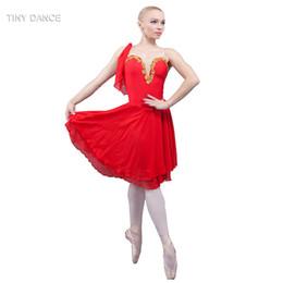 2019 traje de spandex vermelho Nova Chegada do Adulto Ballet Dance Costume Red Spandex Chiffon Dress 18087 desconto traje de spandex vermelho