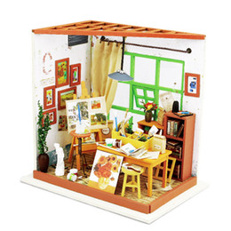 Wholesale Houses Drawings - Doll House Miniature DIY Dollhouse With Furnitures 3D Wooden Handmade House Toys Gift For Children Ada's Studio Drawing DG103