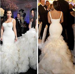 Wholesale Kim Kardashian Mermaid White Dress - Gorgeous 2017 Kim Kardashian Wedding Dresses with Ruffles Tiers Strapless Sexy Mermaid Wedding Bride Gowns Chapel Train Plus Size