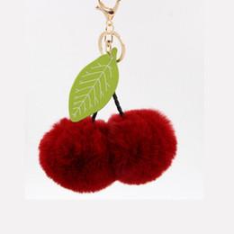 Llavero de cereza online-2018 lindo conejo de piel 8 cm deja la bola llavero Cherry Pom Pom Fluffy llaveros Pompom coche llavero mujeres bolsa colgante de la puerta