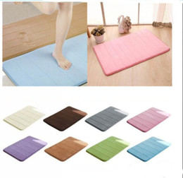 Wholesale Camping Rugs - Wholesale- Useful 40*60cm Memory Foam Camping Mat Bathroom Horizontal Stripes Rug Absorbent Non-slip folding Bath Mats