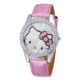 Olá presente do relógio da vaquinha on-line-Olá Kitty Crianças Jovens Strass Assista Radiance Meninas Mão Relógios Pulseira Relógio de Presente para Meninas Montre Fille Relojes Nina