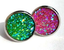 Wholesale drusy stud earrings - 2018 shinny round Glitter druzy drusy Stud Earrings various color Cute Stud Earrings for Women