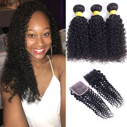 Wholesale Brazilian Knot Hair Extension - Brazilian Virgin Hair Kinky Curly With Closure 3 4 Bundles Kinky Curly Brazilian Human Hair Extensions With Closure Bleached Knots No Tangle