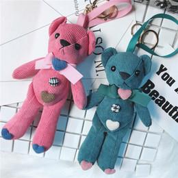 orso di corduroy Sconti Carino bottoni di velluto a coste ciondolo borsa ciondolo creativo bambola regalo portachiavi ornamenti