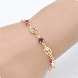 Браслет из стразы из стразы онлайн-Fashion 1Pc Women Retro Golden Leaf Chain Rhinestone Crystal Bracelets Bangle Jewerly Gift
