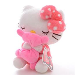 Wholesale Bear Kitty - doll toys Adorable Soft Pink Dots Sleeping Hello Kitty Hold Pillow Plush Japan Ainime Kitten Cat Dolls Toys 8'' New