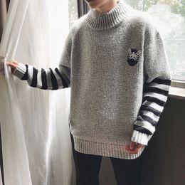 Wholesale Korea Man Sweater - 2017 Winter New Korea Comics Men's Teenager Crafts Small Fresh Half Knit Sweater Free shipping