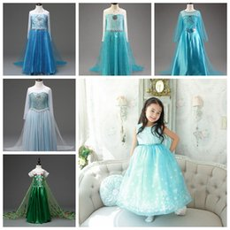 Wholesale Cape Skirts - Girls princess queen cosplay dresses with long cape children kids movie costum dress up party skirts snowflake prom dresses