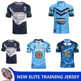 Wholesale Sleeveless Tees - NRL National Rugby League NSW STATE OF ORIGIN 2018 ELITE TRAINING TEE LIGHT BLUE NSW SOO 2018 JERSEY Queensland Maroons NSW RL Holden Rugby
