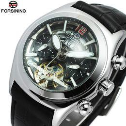 Argentina Relojes únicos Hombres Marca de lujo Esqueleto Face Flywheel Reloj mecánico automático Reloj Hombres Cuero Montre Homme Hodinky cheap wrist watch faces Suministro