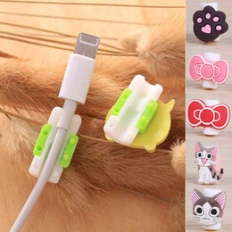 Wholesale Headphone Cartoons - Multi Cartoon Patterns USB Cable Earphone Protector Headphones Line Saver For Mobile Phones Charging Cable Data Cord