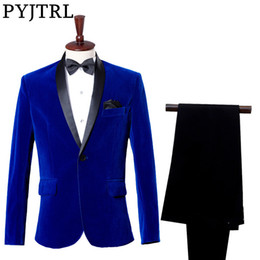costumes de velours bleu royal Promotion (Veste + Pantalon) Costume De Mariée Tuxedo Costume Studio Saphir Bleu Royal Velours Costume Coupe Slim Costumes De Mariage Pour Hommes