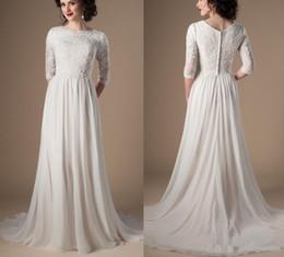 vestidos brancos de mão cheia Desconto Marfim Champagne Modest Vestidos De Casamento 2018 Com 3/4 Mangas Frisado Lace A Linha Chiffon Boho Informal Vestido De Noiva Vestido De Noiva Religiosa