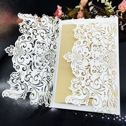 Wholesale Laser Cutting Patterns - 10 Pcs lot Wedding Party Invitation Card Romantic Invitation Laser Cut Delicate Carved Pattern Wedding Invitations Party Supply