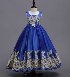 Argentina 2018 recién llegado Pretty Girl Flower Dress Apliques Royal Blue Purple Baby Girl Vestidos Vestidos largos para niñas cheap royal purple flower girl dresses Suministro