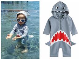 Wholesale one piece cosplay costumes - Baby Cute Shark Cartoon Cosplay Beach One-piece Swimwear Kids Fast Dry Swim Bathing Costume Boy Kids Rashguard DDA450