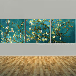 Wholesale Oil Canvas Reproduction - Handpainted 3 Panles Blossoming Almond Tree Oil Painting Vincent Van Gogh Reproduction On Canvas Wall Art Picture For Home Decor