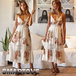 bfe853a692b6 Women Ladies Summer Boho Beach Party Dress Sleeveless Floral Print Lace  V-Neck Fit and Flare Min Calf Length Dress Sundress