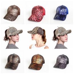 Wholesale leopard print baseball hats - Leopard Print Ponytail Baseball Cap 9 Colors Mesh Hats Women Messy Bun Casual Hip Hop Adults Kids Snapbacks 50pcs OOA5284
