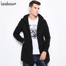 Wholesale Korean Overcoat Mens - Top Grade 2018 New Fashion Brand Mens Trench Coat Men Winter Korean Hooded Mens Overcoat Slim Fit Long Trench Coat Men L-5XL