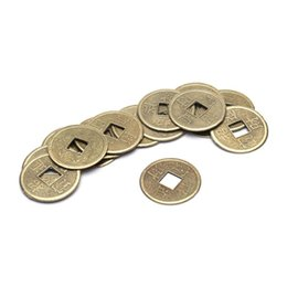 Wholesale Money Collection - Wholesale- 100PCS Brass 24mm Chinese Ancient Feng Shui Lucky Coin Good Fortune Dragon and Phoenix Antique Wealth Money Collection Gift