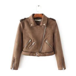 Wholesale Gray Suede Jacket - European style Suede fashion jacket short paragraph women's coat 2018 bestselling Slim wild zipper decorative women jacket Women clothing
