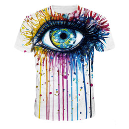 Wholesale Horror Shirts - Big Horror Eye 3D t-shirt Fitness Punk Rock T-shirts Newly Casual O Neck Harajuku Tops Gothic Plus Size Streetwear Tshirts