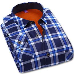 2019 moda da camisa dos homens da flanela Inverno Quente Xadrez Camisa Ocasional Dos Homens de Manga Longa Camisas Mais de Veludo Mens Moda Camisa De Flanela Grosso Chemise Homme Camisa Quente desconto moda da camisa dos homens da flanela