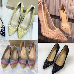 Wholesale Glitter Studs - Luxury Brand Women Pointed Toe Pumps Patent Leather High-heeled Shoes Pearl Rivets Studs Sandals Red Bottom Lady Single Dress Wedding Shoes