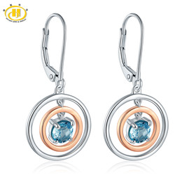 Wholesale 925 blue topaz - Hutang Stone Jewelry Natural Sky Blue Topaz Solid 925 Sterling Silver Rose Gold Earrings Fine Fashion Gemstone Jewelry For Gift