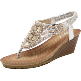 Wholesale Leather Sandals For Ladies - Rhinestone Sandals For Lady Bohemia Style Summer Beach Sandals Fashion Wedge Heel Shoes Flip Flops Plus Size Casual Shoes