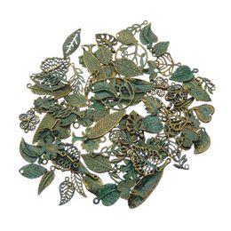 GroßhandelsVertigris Patina überzog Weinlese-Farben-Charme-gelegentliche Mischblatt-Anhänger für FashionJewelry, das Halskette PendantsDIY macht von Fabrikanten