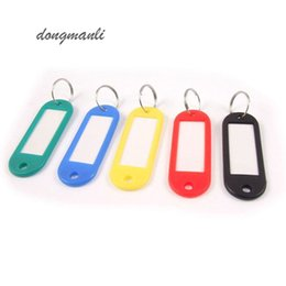 Wholesale Hotel Key Cards - 100pcs pack hotel Plastic Key Ring ID Tags Name Card Label name Language Fob Split Keychain