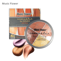 blütengesicht stiftung Rabatt Musik Blume 4 Farben Gesicht Concealer Palette Foundation Cremige Primer Dauerhafte Öl Steuerabdeckung Gesichts Flecken Gesicht Kosmetik
