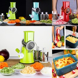 Wholesale Vegetable Julienne Shredder - New Round Mandoline Slicer Vegetable Cutter Manual Potato Julienne Carrot Slicer Cheese Grater Stainless Steel Blades Kitchen Tool WX9-241
