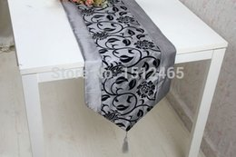 Wholesale Damask Table Decorations - Free shipping,Brand New Silver Gray Damask Flocking Table Runner Wedding Party Home Decoration 195*33cm ZQ05