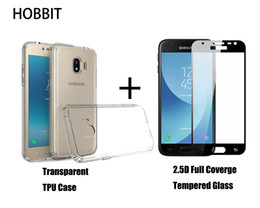 Wholesale Galaxy Grand Back Cases - For Samsung Galaxy J2 Pro 2018 Grand Prime Pro Soft TPU Back Cover Case 0.3mm 2.5D Full Cover Tempered Glass Screen Protector