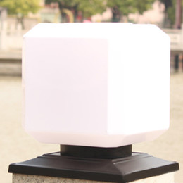 c872ebd6d3022 Solar Powered Square White Light Outdoor Garden Fence Post Light Waterproof Column  Pillar Lantern Wall Lamp Home Garden Light